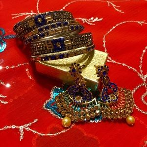 Bollywood Indian gold blue bangles and earring set